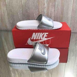 NWT Nike Benassi JDI White Silver W AUTHENTIC